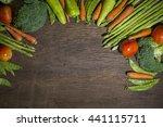 green vegetables on wood... | Shutterstock . vector #441115711