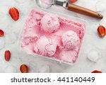 Strawberry Ice Cream In Box On...