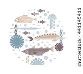 vector illustration of the sea... | Shutterstock .eps vector #441145411
