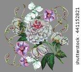 bouquet peony with bindweed  | Shutterstock . vector #441152821