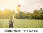 young asian man on green... | Shutterstock . vector #441165151