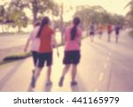 blurred people exercising in... | Shutterstock . vector #441165979
