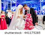 wedding couple with sweet... | Shutterstock . vector #441175285