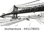 manhattan bridge hand drawn... | Shutterstock .eps vector #441178051