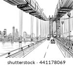 manhattan bridge hand drawn... | Shutterstock .eps vector #441178069