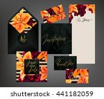 trendy floral vector wedding... | Shutterstock .eps vector #441182059
