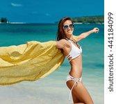 summer portrait of young pretty ... | Shutterstock . vector #441184099