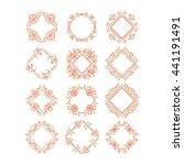 vector set of flower frames...   Shutterstock .eps vector #441191491