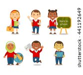 multicultural children back to... | Shutterstock .eps vector #441192649