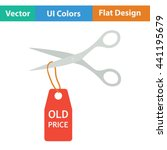 scissors cut old price tag icon....