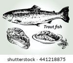 hand drawn sketch fish trout or ... | Shutterstock .eps vector #441218875
