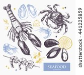 vector seafood illustrations... | Shutterstock .eps vector #441225859