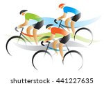 bicycle road racers. group of... | Shutterstock .eps vector #441227635