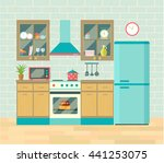 kitchen retro interior with... | Shutterstock .eps vector #441253075