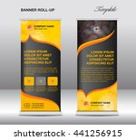 yellow roll up banner stand... | Shutterstock .eps vector #441256915