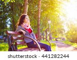 side view seated brunette woman ... | Shutterstock . vector #441282244