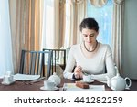 beautiful young brunette... | Shutterstock . vector #441282259