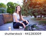 young happy woman listen music... | Shutterstock . vector #441283009