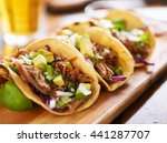three  pork carnitas street... | Shutterstock . vector #441287707