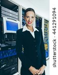 woman in front of mainframe and ... | Shutterstock . vector #441291094