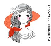 beautiful young girl sailor and ... | Shutterstock .eps vector #441297775