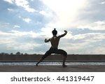 man doing tai chi around pool   ... | Shutterstock . vector #441319447