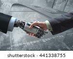 business human and robot hands... | Shutterstock . vector #441338755