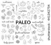 hand drawn outline paleo diet... | Shutterstock .eps vector #441342754