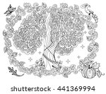 magic tree outline. adult book... | Shutterstock .eps vector #441369994