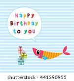 cute fish happy birthday... | Shutterstock .eps vector #441390955