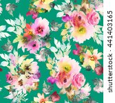 seamless pattern with flowers... | Shutterstock . vector #441403165