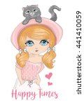 cute girl vector  | Shutterstock .eps vector #441410059