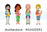 various mom and baby  multi... | Shutterstock .eps vector #441433591
