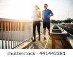 beautiful couple in motion...   Shutterstock . vector #441442381