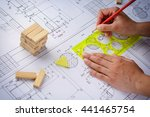 architect working on blueprint  ... | Shutterstock . vector #441465754