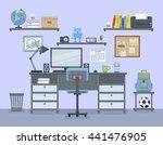 workspace for freelancer in... | Shutterstock .eps vector #441476905