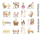 people in spa salon and various ... | Shutterstock .eps vector #441479341