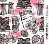 singapore hand drawn sketch... | Shutterstock .eps vector #441480169