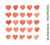 set of vector watercolor hearts.... | Shutterstock .eps vector #441492301