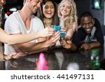 group of friends having shots... | Shutterstock . vector #441497131