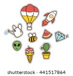 set of cute patch isolated on... | Shutterstock .eps vector #441517864