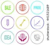 sale  globe  free  pencil ... | Shutterstock .eps vector #441521689