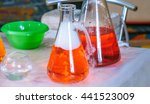 Small photo of Laboratory equipment, solutions, reagents, chemicals, flasks, tubes, water, acid and alkali. Cryo show