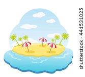 three striped parasol on sandy... | Shutterstock . vector #441531025