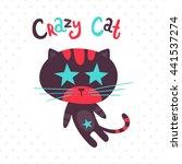 crazy cat. cartoon vector... | Shutterstock .eps vector #441537274