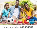 happy family posing together at ... | Shutterstock . vector #441538801
