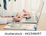 medicine doctor's working table.... | Shutterstock . vector #441548497