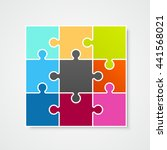 puzzle frame template  design... | Shutterstock .eps vector #441568021