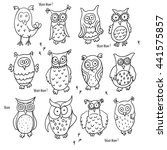 Stock vector set of cute cartoon wise owls isolated on white background good for coloring hoo hoo 441575857
