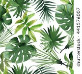 watercolor tropical leaves... | Shutterstock . vector #441576007
